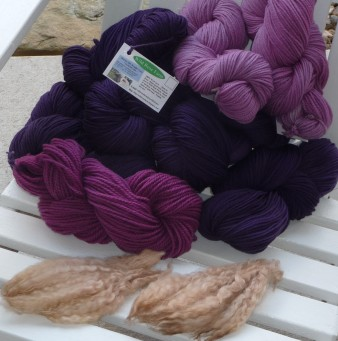 Logwood purples & walnut curly locks hand-dyed